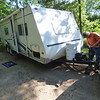John Othoudt, of Lake Crystal, arrived at Minneopa State Park Monday, the first day campgrounds were allowed to reopen in the state.