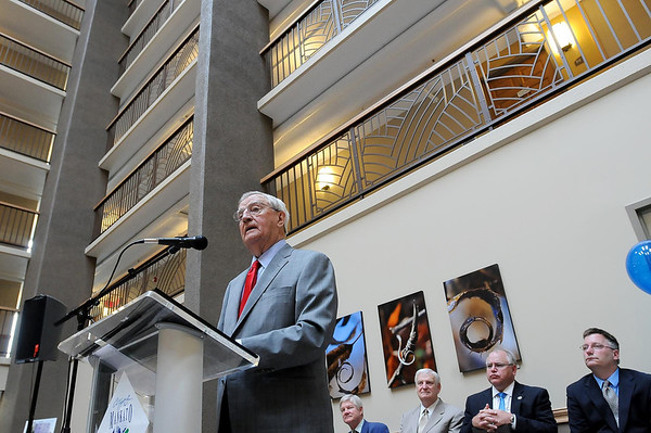 John Cross<br /> Former Vice President Walter Mondale addresses the crowd on hand for the dedication of the newly remodeled Orness Plaza, Friday.