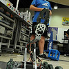 Joey Falgren runs the robot he helped assemble through its paces during a Robotics Challenge Camp he was attending on Tuesday at South Central College. The camp was co-sponsored by the SC Perkins Consortium and the Minnesota Center of Engineering & Manufacturing Excellence. Photo by John Cross