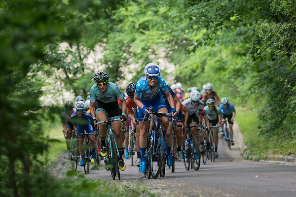 Taylor Wiles of the United Health Care Pro Cycling Team leads a group of women cyclists in the North Star Grand Prix up a hill on Valerie Lane in North Mankato on Saturday. Ruth Winder of the United Health Care Pro Cycling Team won the race that totaled 62 miles. Photo by Jackson Forderer