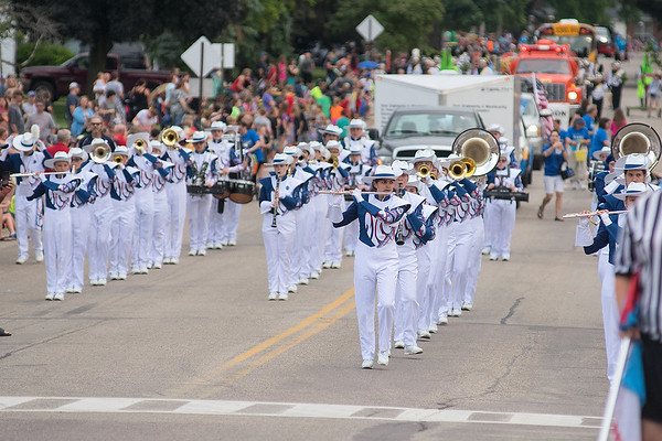 The St. Peter High School marching band marches along Main Street in Lake Crystal during the Battle of the Bands on Friday. Fourteen high school marching bands took part in the annual competition. Photo by Jackson Forderer