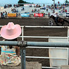 A young rodeo fan watches barrel racing during the Junior High State Finals rodeo Friday. Photo by Pat Christman