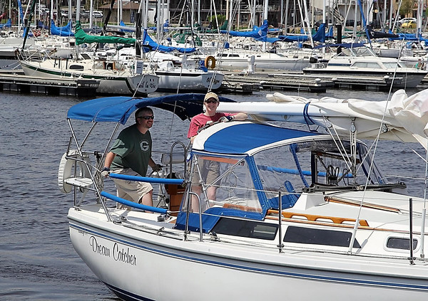 """Lisa and I aboard our new (to us) boat, """"Dream Catcher."""" Photo by Kylie Beran"""