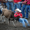 Garrett Stevens tries to bring down a steer during chute dogging at the Junior High State Finals rodeo Friday at the Nicollet County Fairgrounds in St. Peter. Photo by Pat Christman