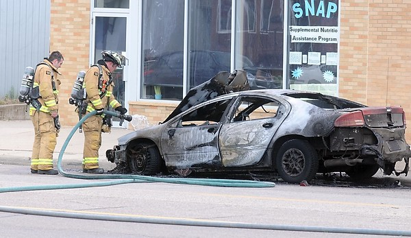 Car fire near ECHO Food Shelf