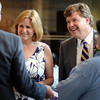 Scott and Kelley Olson greet well-wishers at a reception in their honor Tuesday at Minnesota State University. Olson, who came to MSU in 2003 and served in a variety of administrative positions, recently was appointed as the 15th president of Winona State University and will begin his duties there July 16.