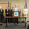 John Cross<br /> Gov. Mark Dayton speaks at a press conference Tuesday announcing the planned upgrade of Highway 14 from North Mankato to Nicollet to four lanes.