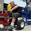Pat Christman<br /> Jacob Meidl, 6, strains his way to a first place finish in his age division during the Nicollet Frinedship Days Kiddie Tractor Pull Saturday.