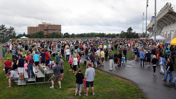 John Cross<br /> Thousands of spectators gathered around the Minnesota State University campus Saturday for the implosion of the 48-year-old Gage Towers,