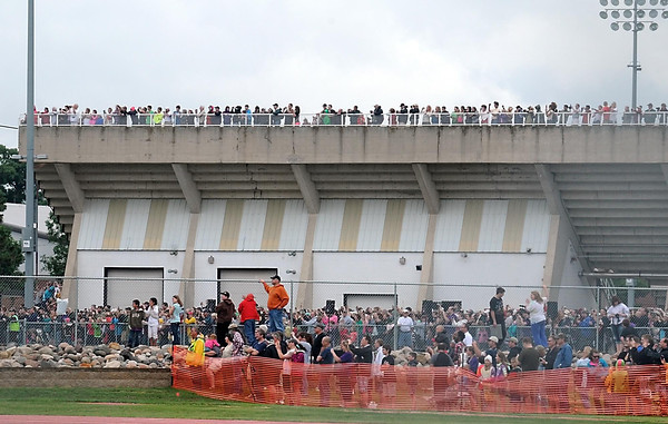 Pat Christman<br /> Thousands of spectators filled the area behind Blakeslee Stadium to watch the implosion of the twin Gage Towers Saturday.