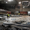 Pat Christman<br /> Workers begin removing the concrete floor of the Verizon Wireless Center Friday afternoon. The work is part of an upgrade to the center's ice making equipment and will last until the Minnesota State University men's hockey season starts in the fall.