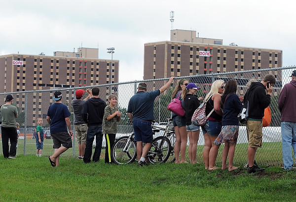 Pat Christman<br /> The fenceline around MSU's baseball diamond and outdoor track filled with spectators waiting for the implosion of Gage Towers Saturday.