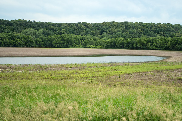 A field upstream from the Rapidan Dam remained flooded as of Thursday afternoon due to heavy rains. Photo by Jackson Forderer