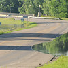 Water from the rising Minnesota River creeps into the southbound lane at the south end of St. Peter. A predicted crest of 26.9 feet on Tuesday prompted MnDOT to close that highway along with sections of Highway 169 between Le Sueur and Mankato. Photo by John Cross