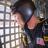 The Golden Knights' Sfc. Adrian Hill looks out the window before his jump Saturday. Photo by Trevor Cokley