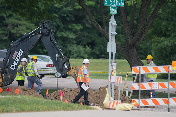 A gas line was struck during road construction on Fifth Street at approximately 12:45 p.m. according to Mankato Department of Public Safety Deputy Director Jeff Bengtson. The Blue Earth County Government Center and nearby homes were later evacuated. Photo by Jackson Forderer