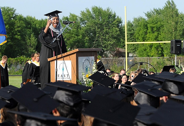 Mankato East graduate Asma Dahir speaks during the school's commencement ceremony Thursday.