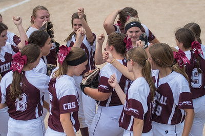 New Ulm Cathedral softball players huddle after a good defensive inning in their state quarterfinal game against Badger/Green Bush-Middle River. Cathedral won their first game to move on to the semifinals. Photo by Jackson Forderer
