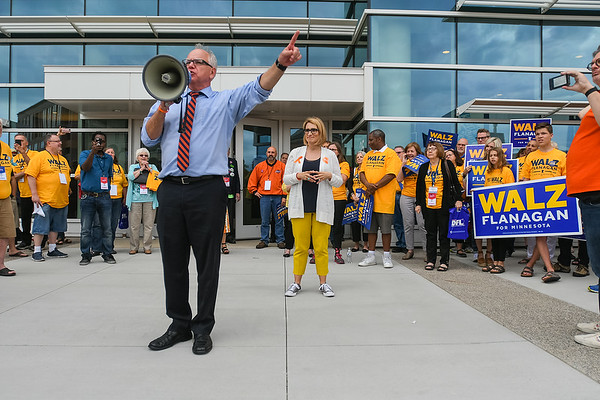 Tim Walz (left) campaigns with Peggy Flanagan (center) outside of the Mayo Convention Center at the DFL Convention held on June 2. Walz did not get the DFL endorsement but will compete in the primary on August 14. Photo by Jackson Forderer