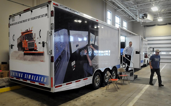 John Cross<br /> Minnesota Department of Transportation personnel leave a trailer housing state-of-the-art snowplow simulator that is being used to give additional training to snowplow drivers.