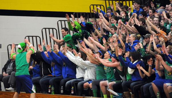 Maple River basketball fans pretend they're on a roller coaster during their boys basketball team's section tournament game against United South Central at the East gym.