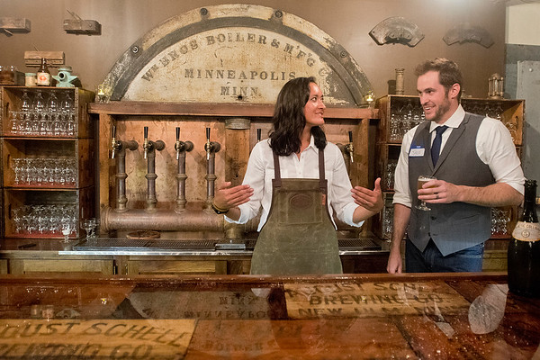 Brewmaster Jace Marti (right) talks with bartender Angi Proehl during a tasting at Starkeller Brewery and Taproom in New Ulm on Wednesday. The brewery specializes in sour or Berlin Weisse style beers. Photo by Jackson Forderer