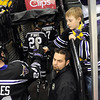 Minnesota State men's hockey fan Owen Forsythe, 8, gets a high five from Brett Knowles before their WCHA Final Five game against Wisconsin Thursday at the Xcel Energy Center in St. Paul.