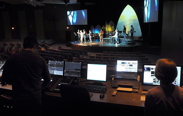 Crossview Covenant Church's band rehearses for the church's Easter Sunday services.