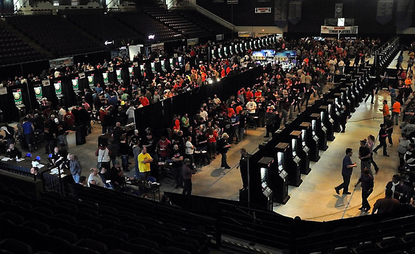 Dart boards fill the Verizon Wireless Center during the C&N Sales dart tournament Saturday. Photo by Pat Christman