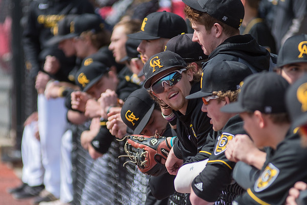 The Gustavus baseball team has some dugout chatter while they took on Bethany Lutheran at Franklin Rogers Park on Saturday. Photo by Jackson Forderer