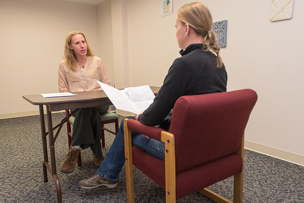 Johanna George (right) listens to Melinda Keim respond to a question during a mock interview. Photo by Jackson Forderer