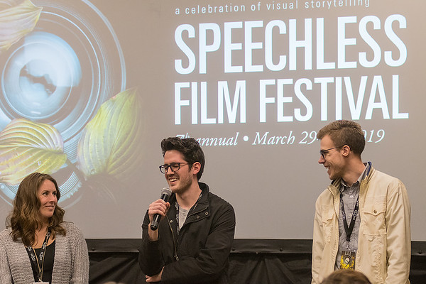 Isaac Carlton (center), who directed It's About Time, answers a question during a short Q&A session following a screening at the Speechless Film Festival. At left is director Kristin Schaack who directed Fairy Tale with her husband Justin Schaack and at right is Paul Gall who directed 33 RPM. Photo by Jackson Forderer