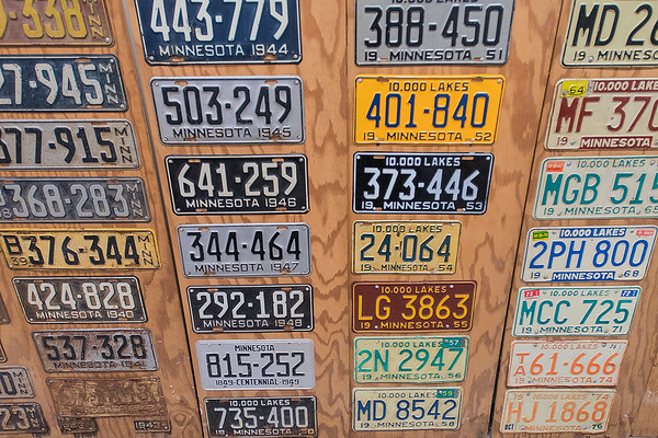 A display of Minnesota state driver's license plates from each year dating back to 1911 at the Watonwan County Historical Society. Photo by Jackson Forderer