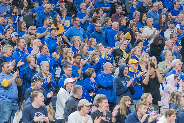 A sea of blue cheers on the Waseca boys basketball team as a late second half rally made De La Salle call a time out in the Class AAA championship game played at Target Center on Saturday. Photo by Jackson Forderer