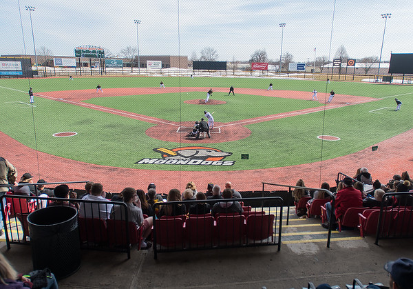 Bethany Lutheran takes on Gustavus in the second baseball game played at Franklin Rogers Park this year, with just a tiny amount of snow left in center field. Photo by Jackson Forderer