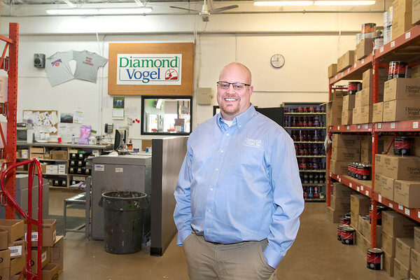 Jason Johannsen, the service center supervisor, has been working at Diamond Vogel since 2001. The store on Riverfront Drive specializes in architectural and industrial paints.Photo by Jackson Forderer