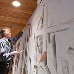Brad Widness, a professor at Minnesota State, sketches out the outline for a mural painting that he and his wife Ann are working on at Bethlehem Lutheran Church for its 150th anniversary. Wi ...