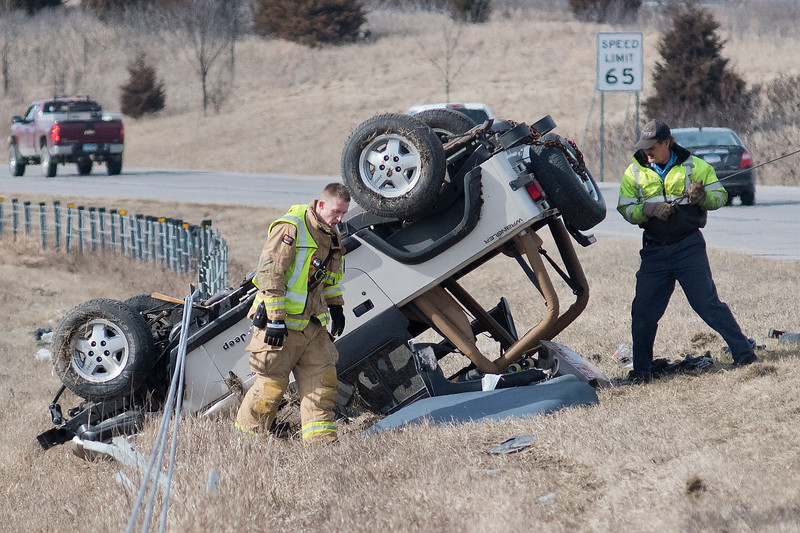 Emergency responders were called to a rollover accident with injuries on Highway 14 West between the Riverfront Drive and Victory Drive exits on Friday afternoon. Photo by Jackson Forderer