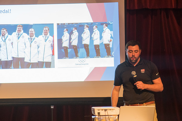 U.S. Olympian and Mapleton native John Landsteiner gives a presentation on his journey at the 2018 Olympics at the United Way Men's Night held at the Kato Entertainment Center on Thursday evening. Photo by Jackson Forderer