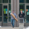Attendees of the Mankato Gun and Knife Show file out of the National Guard Training Center where the show was held on Saturday and Sunday. Photo by Jackson Forderer