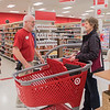 "Target employee Ron Spreng talks to customer Terry Sparks at the store on Thursday. ""My strength is interacting with people,"" Spreng said, ""whether it's guests or co-workers."" Spreng's boss Reann Hudson said that he has a lot of life experience that transfers to the Target team really well. Photo by Jackson Forderer"