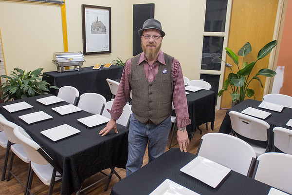Tony Friesen in a recently remodeled renovated event space in the back of Friesen's Family Bakery & Bistro. Friesen said he hopes to use the space for farm-to-table dinners. Construction will begin on a three-story building next to Friesen's this summer. Photo by Jackson Forderer