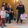 Elizabeth Bangert (right) speaks in the Capital rotunda before speaking at a state senate hearing on child care. Bangert and roughly 40 other child care providers closed their doors today to attend the hearing in St. Paul. Photo by Jackson Forderer