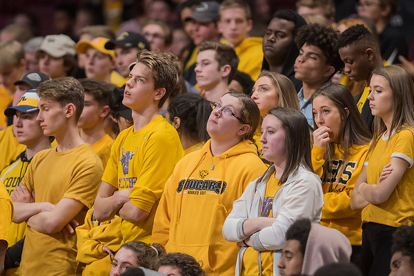 Mankato East students watch the final minutes of the Cougars game against Delano in the opening round of the state tournament. The Cougars were upset by Delano 79-64. Photo by Jackson Forderer