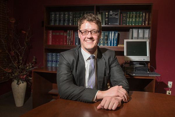 Joe Bergstrom has worked as a public defender for Blue Earth County for two years. He previously worked for Dakota County Public Defenders for one year before coming to Mankato. Photo by Jackson Forderer