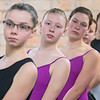 Kirsten Sims (second from left) and other ballet dancers line up for the start of Swan Lake during a rehearsal at the Mankato Ballet Company on Tuesday. Photo by Jackson Forderer