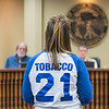 Kelly McIntee speaks to the North Mankato City Council on Tuesday in favor of the proposed city ordinance to raise the age to buy tobacco products to 21. Photo by Jackson Forderer
