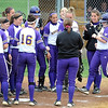 Minnesota State's Kelly Wood is greeted by her teammates at home plate after hitting a two-run home run in the third inning of their NCAA Division II Regional softball game against Concordia University Saturday at MSU.