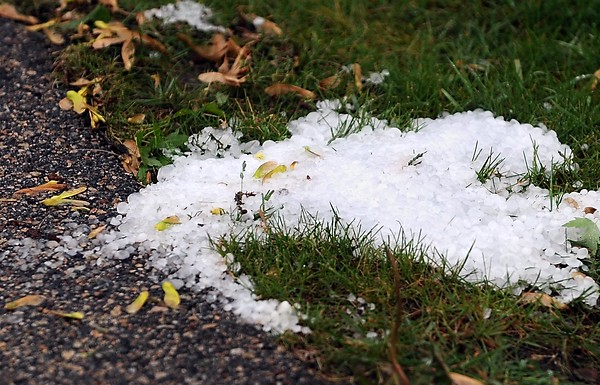 Hail stones pile up in a yard on Bittersweet Lane after a severe thunderstorm Wednesday.