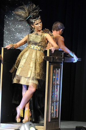 A model shows off Cheery Creek's entry in the Raw Fusion Fashion Show, made of furnace filters, window screen and mosaic tile, during the show Friday at the Verizon Wireless Center. Proceeds from this year's event by the Minnesota River Builders Association will benefit the Minnesota Valley Action Council.